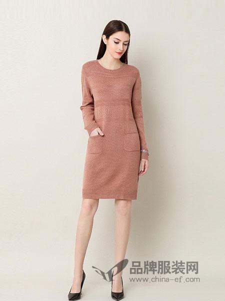 奥莎尼女装2018秋冬中长款羊毛衫打底针织衫套头毛衣裙