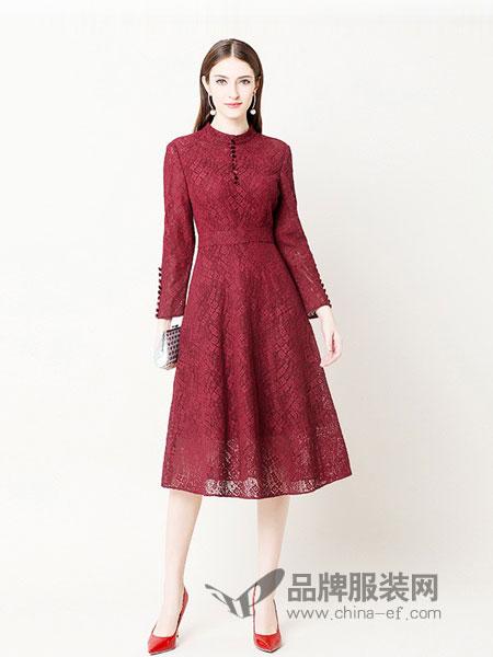 奥莎尼女装2018秋冬优雅复古小立领修身高腰气质显瘦连衣裙