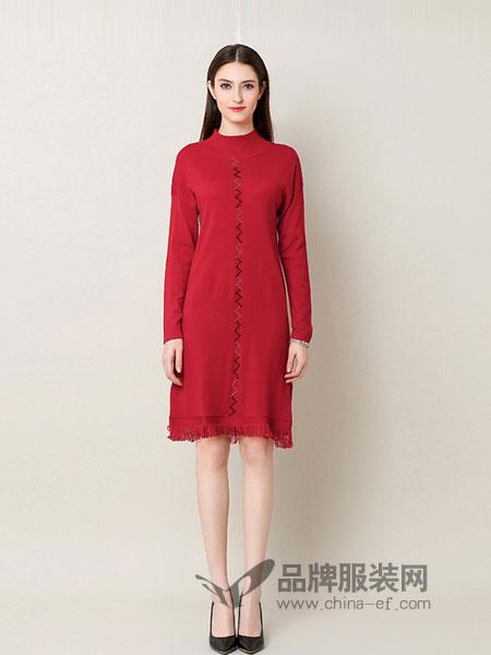 奥莎尼女装2018秋冬拼接撞色立领羊毛针织打底百搭连衣裙