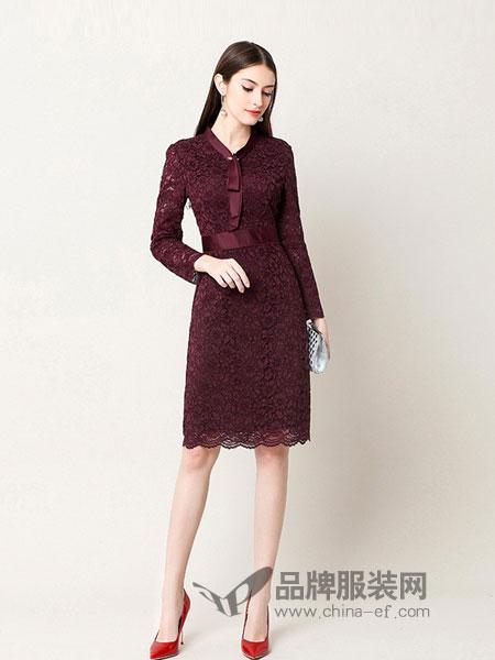 奥莎尼女装2018秋冬修身收腰显瘦气质长袖连衣裙