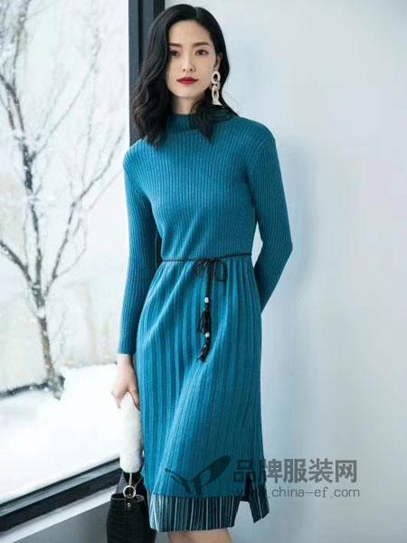 优衣美女装2018秋冬新款韩版系带拼接连衣裙中长款收腰蕾丝针织毛衣打底裙