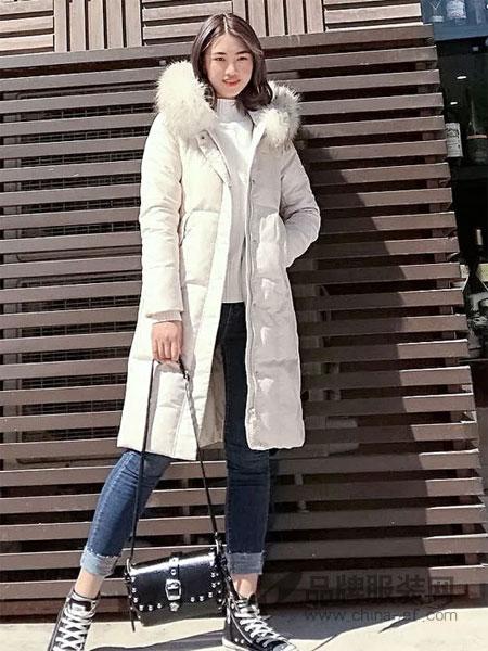 依然秀女装2018秋冬韩版修身显瘦真貉子毛领中长款