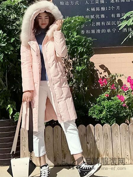 依然秀女装2018秋冬长袖中长款棉衣舒适暖和潮流时尚港味