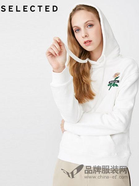 思莱德(SELECTED)女装2018冬季含棉刺绣抽绳连帽休闲针织卫衣