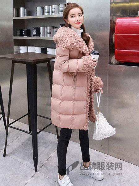 听香流水女装2018秋冬时尚中长款修身加厚羊羔绒羽绒棉服外套潮