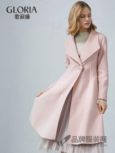 歌莉娅女装2018秋冬收腰散摆双面呢大衣