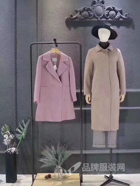司合伊女装2018冬季新款时尚修身气质羊毛双面呢大衣外套