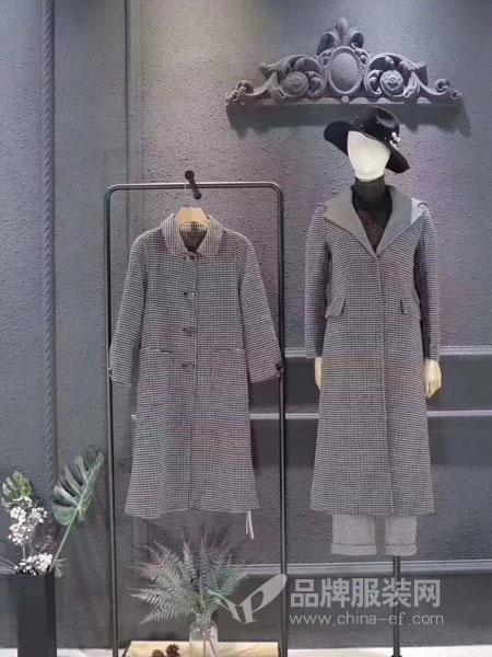 司合伊女装2018冬季双面羊绒大衣双面妮大中长款