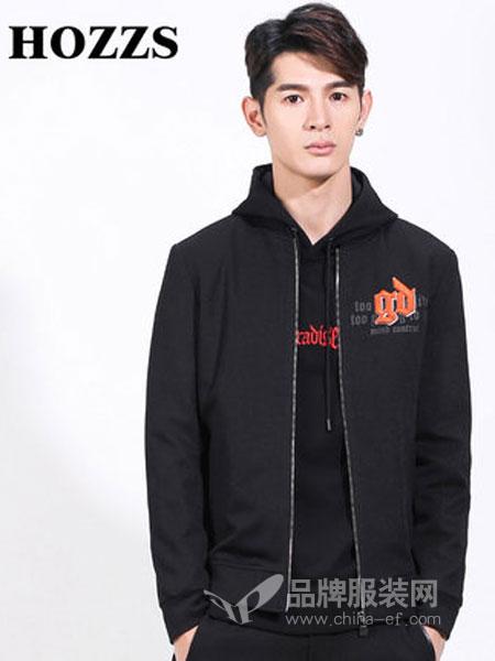 汉哲思男装2018秋冬新款韩版潮流帅气字母刺绣外套