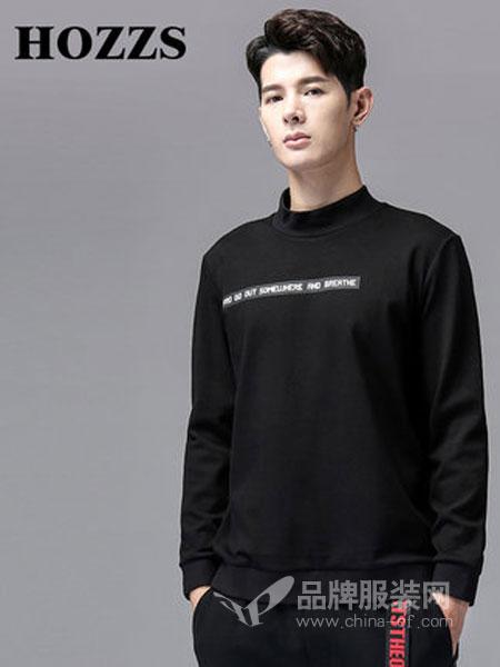 汉哲思男装2018秋冬简约文字长袖T恤