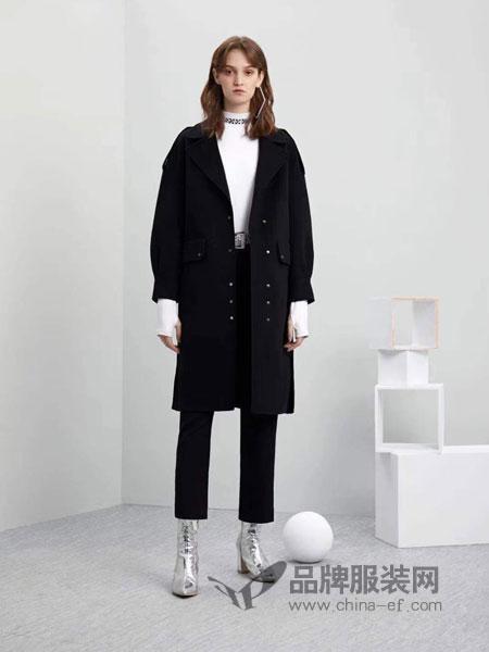 五秒女装2018秋冬新款翻领单排扣长袖毛呢外套