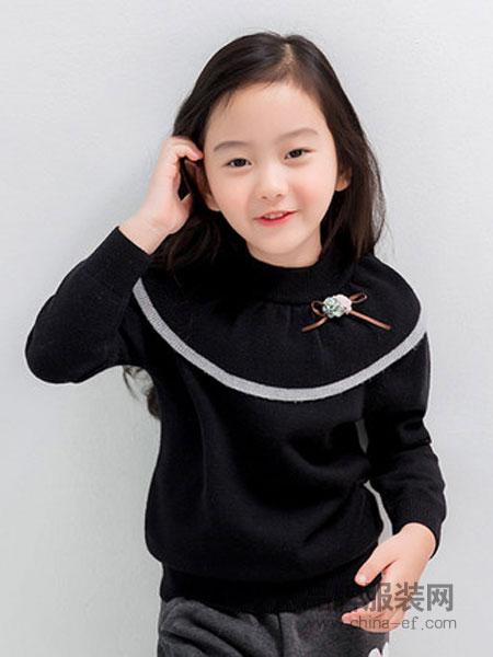 酷咿熊KUYEEBEAR童装2018秋冬黑色韩版打底宽松针织衫