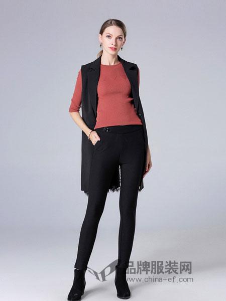 CXDTOP茜诗迪女装2018秋冬收腰显瘦双排金扣西装无袖外套马甲