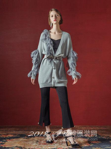 玛克西妮女装2018秋冬新品 复古长袖荷叶边上衣开衫中长款外套