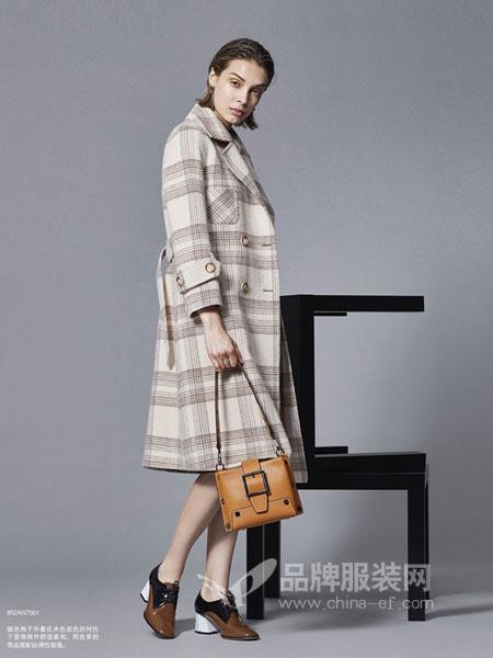 艺素女装2018秋冬新款羊绒大衣中长款外套格子呢大衣