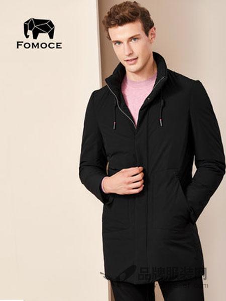 法曼斯(FOMOCE)男装2018冬季中长款獭兔毛领白鸭绒加厚羽绒外套