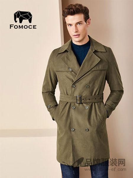 法曼斯(FOMOCE)男装2018冬季夹克中长款翻领商务防风风衣