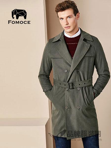 法曼斯(FOMOCE)男装2018冬季防风中长款翻领商务男装风衣夹克外套