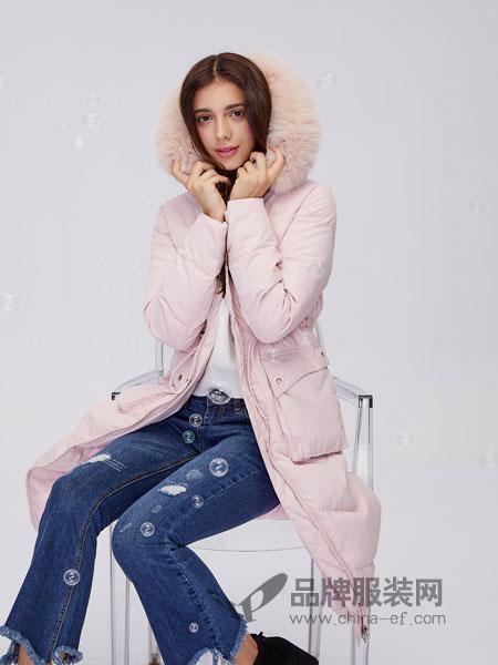 城市衣柜女装2018秋冬毛领加厚羽绒服中长款白色连帽韩版外套