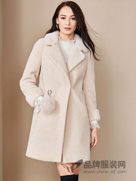 法曼斯女装2018秋冬翻领加厚纯色毛呢外套