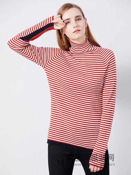 法曼斯女装2018秋冬高领红白条纹百搭长袖