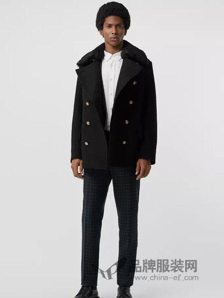 Burberry休闲2018秋冬拆式毛羊皮衣领羊毛海军外套