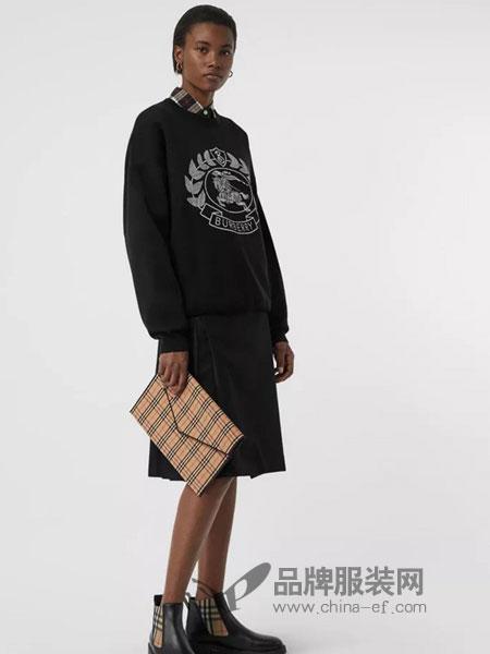 Burberry休闲2018秋冬徽章美利奴羊毛混纺提花针织衫