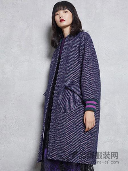 马克华菲女装2018冬季毛呢外套中长款过膝羊毛呢子大衣