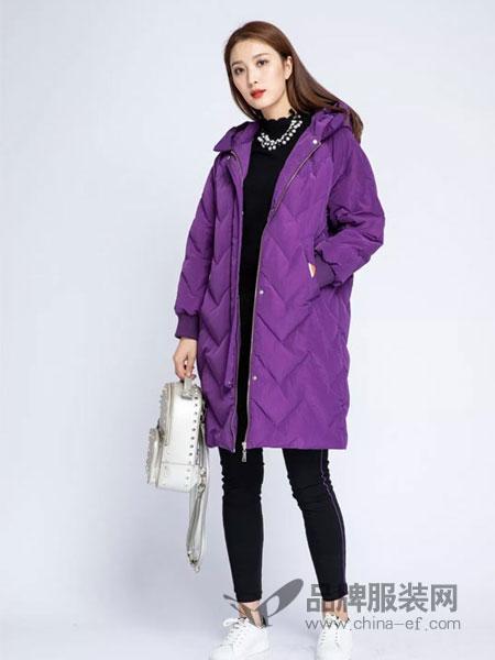 浩洋国际女装2018冬季色连帽宽松休闲中长款羽绒衣