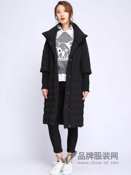 浩洋国际女装2018冬季95白鹅绒长款丝麻加厚羽绒服