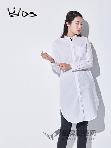 WDS女装2018春夏衬衫休闲时尚外套纯色立领长袖寸衫中长款