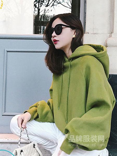佰莉衣橱女装2018秋冬加厚宽松韩版连帽套头长袖绿色卫衣新款上衣