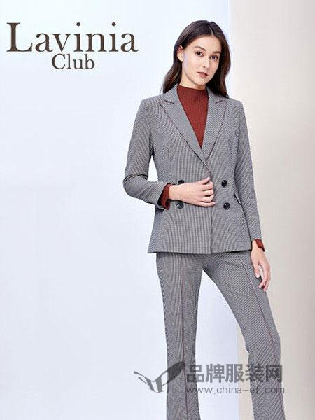 拉维妮娅女装2018秋冬新品格子西装外套双排扣