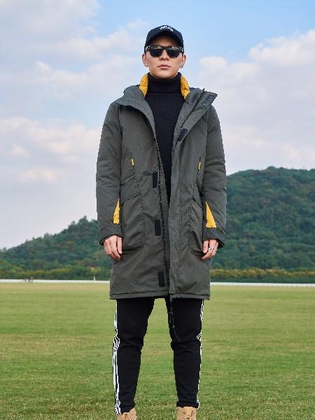 禹宾男装男装2018秋冬短款迷彩连帽外套
