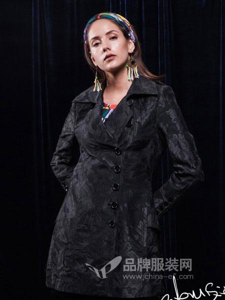 Gooyen古源女装2018秋冬时尚优雅气质长袖立领黑色暗花风衣