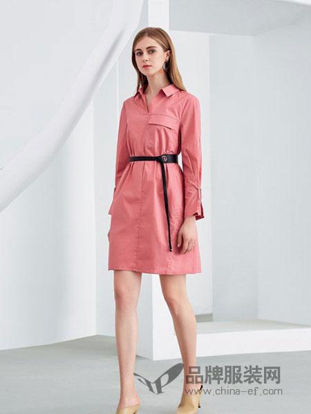 欧米媞女装2018冬季新款中长裙A字裙连衣裙