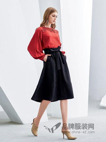 欧米媞女装2018冬季修身a字裙高腰显瘦亚麻棉裙子