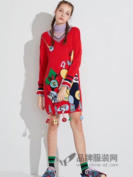 米可芭娜女装2018秋冬针织衫套头中长款V领毛衣裙