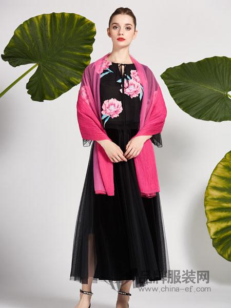 秀蓓儿女装2018秋冬中长款新款中国风刺绣外搭开衫