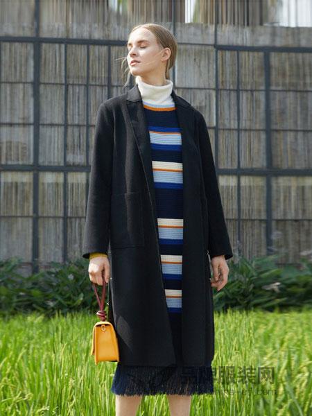 ORIGIN 安瑞井女装2018秋冬纯色简约圆领羊绒大衣外套开衫毛衣