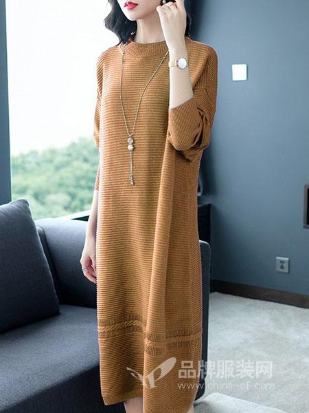 迪尔绒莎女装2018秋冬新款韩版长袖毛衫针织打底裙