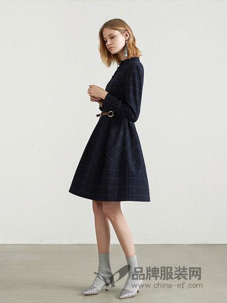 PSALTER女装2018秋冬新款格纹修身毛呢长袖高腰a裙连衣裙