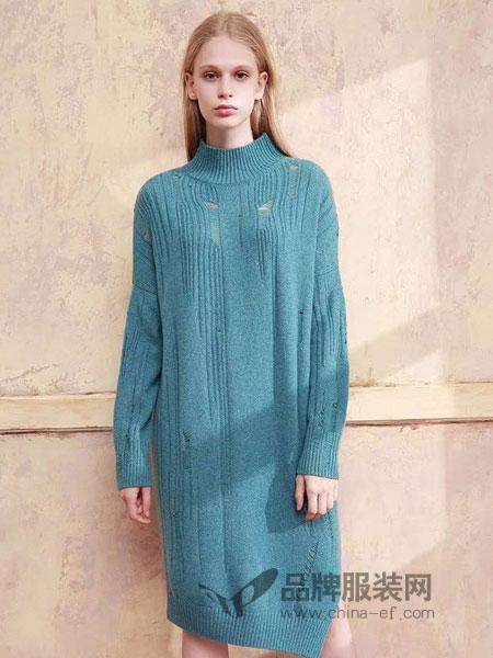 洲升女装2018秋冬蓝色半高领破洞不对称羊绒衫