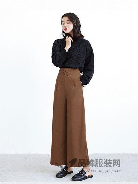 爱尚时尚女装2018秋冬新款显瘦减龄气质垂坠感喇叭裤长裤