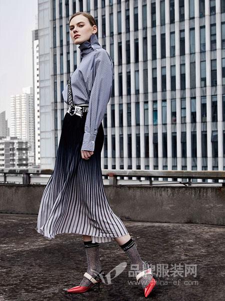 AMONAVIS 依我之见女装2018春夏优雅荷叶边设计灯笼袖口绑带设计雪纺衫
