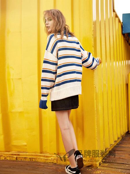 MATERIAL GIRL女装2018秋冬加厚条纹韩版长袖上衣撞色保暖针织衫