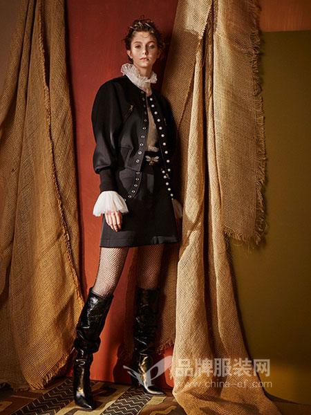 JETEZO女装2018秋冬新款圆领拉链夹克长袖短外套