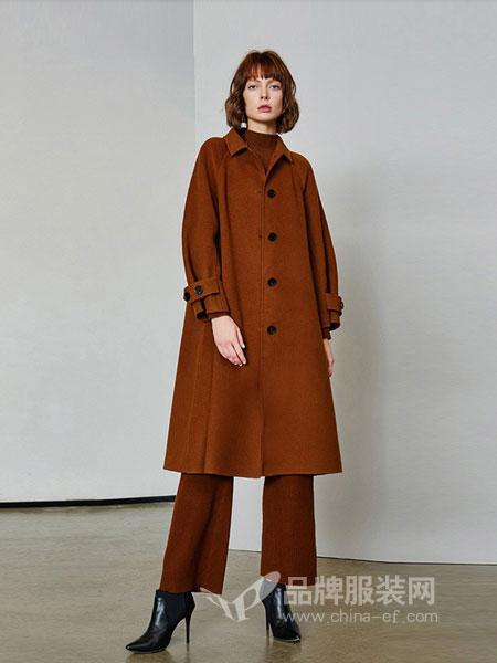 艾诺丝雅诗女装2018秋冬新款韩版宽松羊毛双面羊绒大衣
