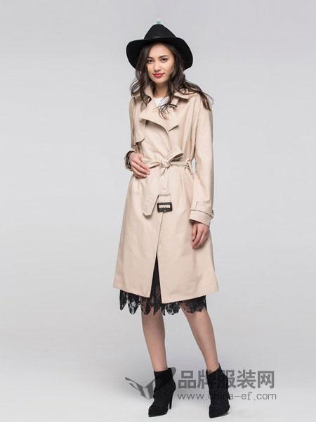 艾格周末女装2018秋冬新品时尚收腰中长款长袖大衣外套