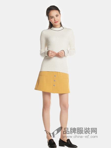 艾格周末女装2018秋冬时尚潮流纯色修身套头针织衫